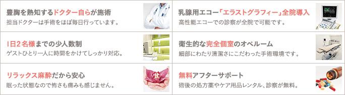 豊胸手術の経験豊富なドクターが責任担当(担当ドクターは手術をほぼ毎日行っています。) / 乳腺用エコー「エラストグラフィー」全院導入(高性能エコーでの診察が全院で可能です。) / 1日2名様までの少人数制(ゲストひとり一人に時間をかけてしっかり対応。) / 衛生的な完全個室のオペルーム(細部にわたり清潔さにこだわった手術環境です。) / リラックス麻酔だから安心(眠った状態なので怖さも痛みも感じません。) / 無料アフターサポート(術後の処方薬やケア用品レンタル、診察が無料。)